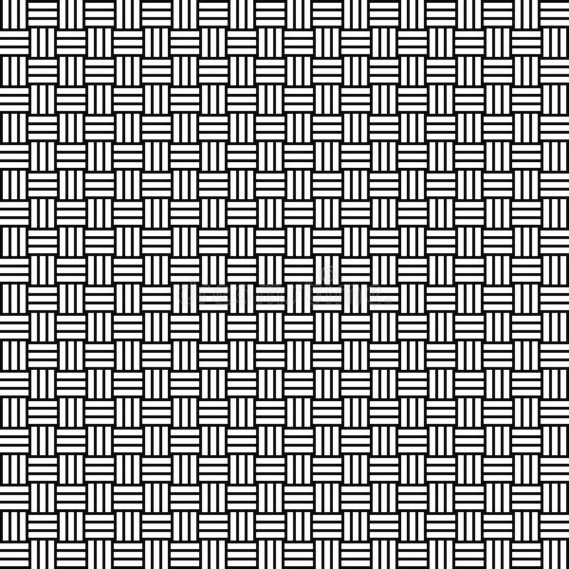 Modello senza cuciture del tessuto di vettore Struttura del rattan Fondo in bianco e nero Progettazione monocromatica illustrazione di stock