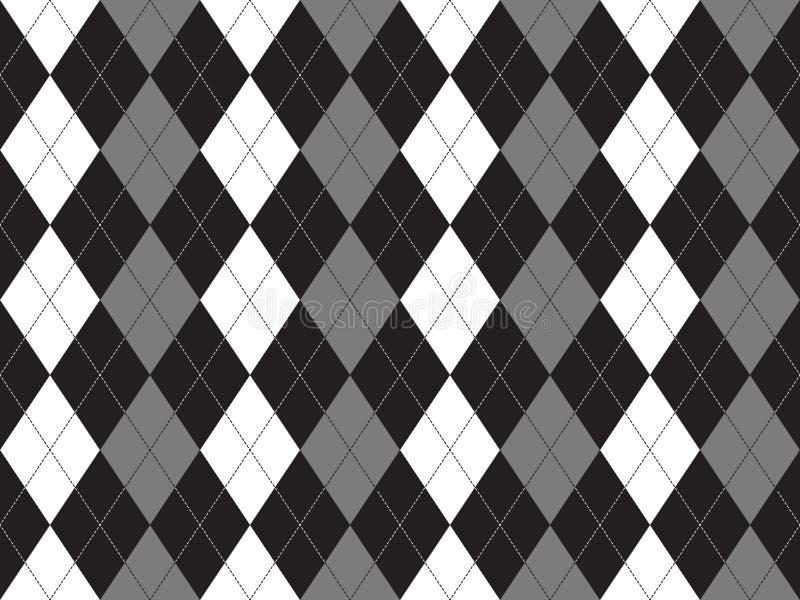 Modello senza cuciture del tessuto grigio bianco nero del argyle illustrazione di stock