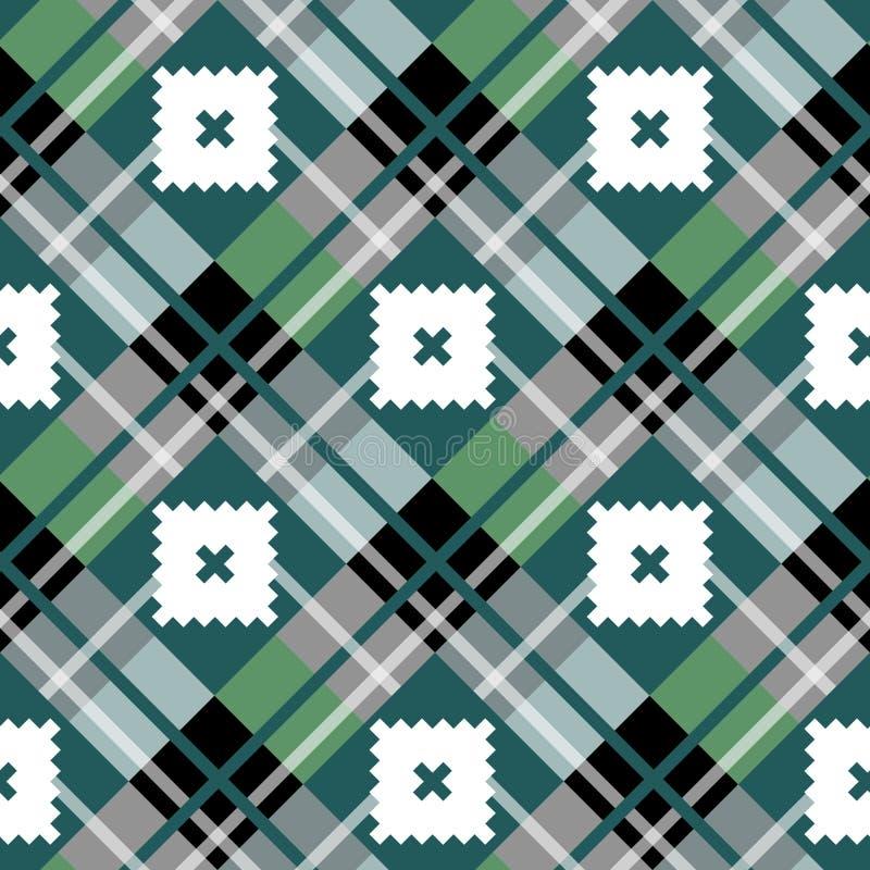 Modello senza cuciture del tessuto del tartan diagonale verde di struttura Illustrazione di vettore EPS10 illustrazione di stock