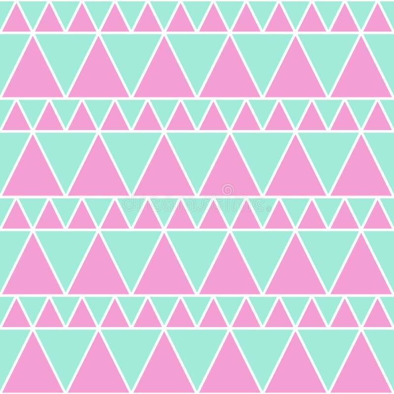 Modello senza cuciture del triangolo rosa verde molle illustrazione vettoriale