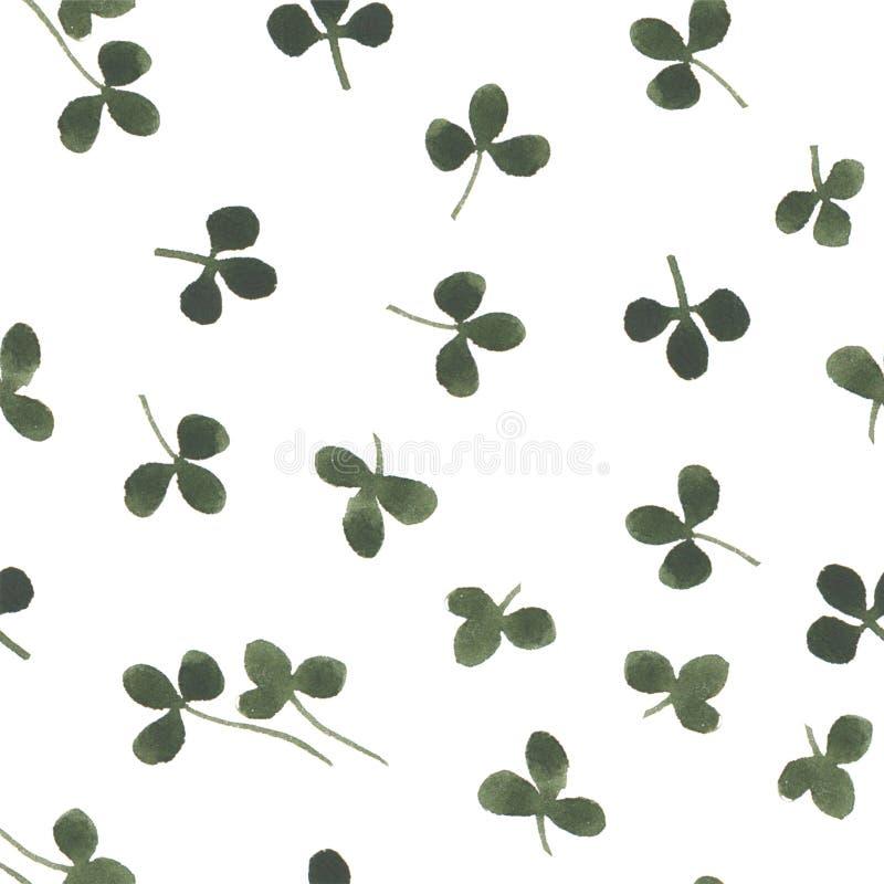 Modello senza cuciture del trifoglio dell'acquerello dell'illustrazione floreale organica di erbe della natura illustrazione vettoriale
