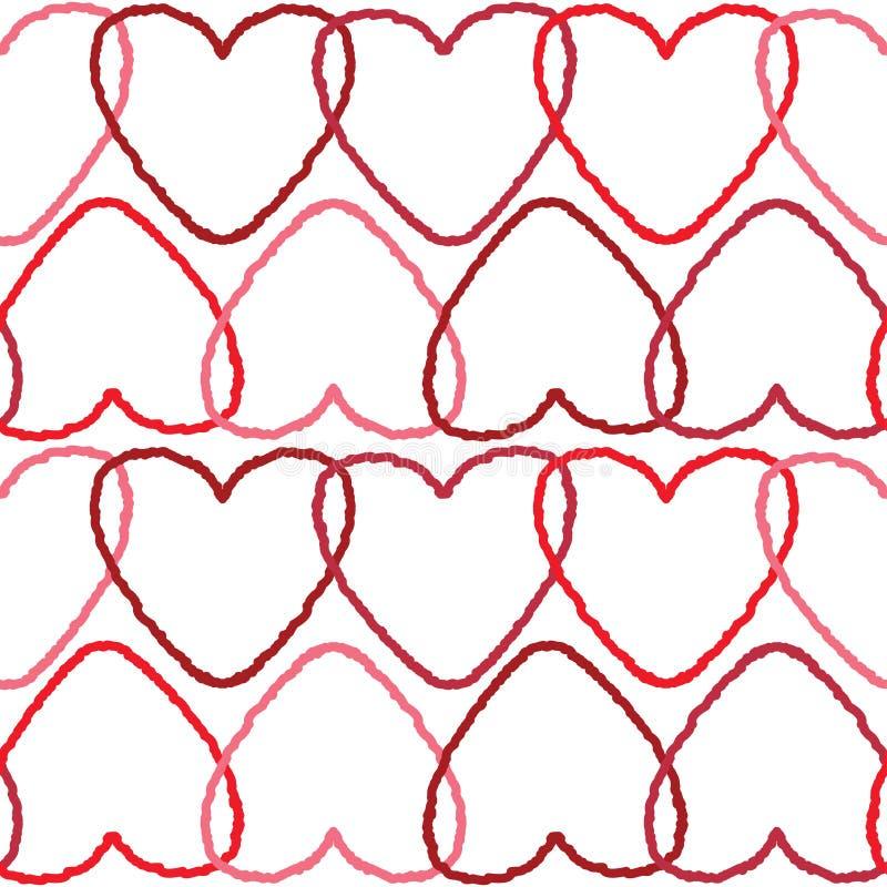 modello senza cuciture delicato del fondo con i cuori rossi intersecati di contorno illustrazione di stock