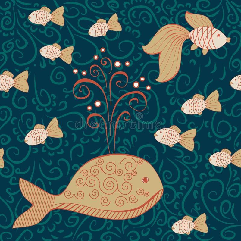 Modello senza cuciture dell'acqua profonda con la grande balena ed i piccoli pesci illustrazione vettoriale