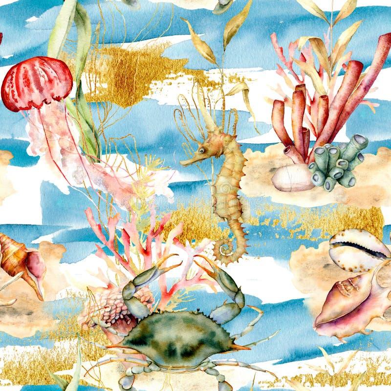 Modello senza cuciture dell'acquerello con gli animali e le piante subacquei Coralli dipinti a mano, meduse, ippocampo, coperture illustrazione vettoriale