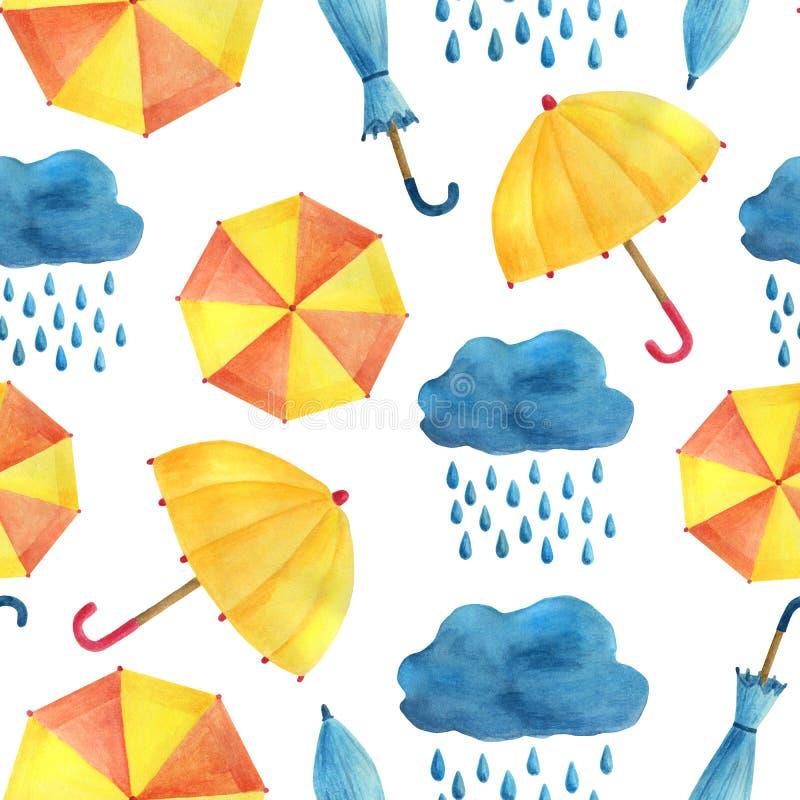 Modello senza cuciture dell'acquerello con gli ombrelli, le nuvole e la pioggia Illustrazione dipinta a mano sveglia su fondo bia illustrazione vettoriale
