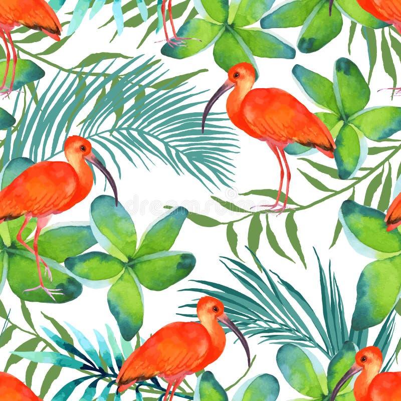 Modello senza cuciture dell'acquerello con gli uccelli illustrazione vettoriale