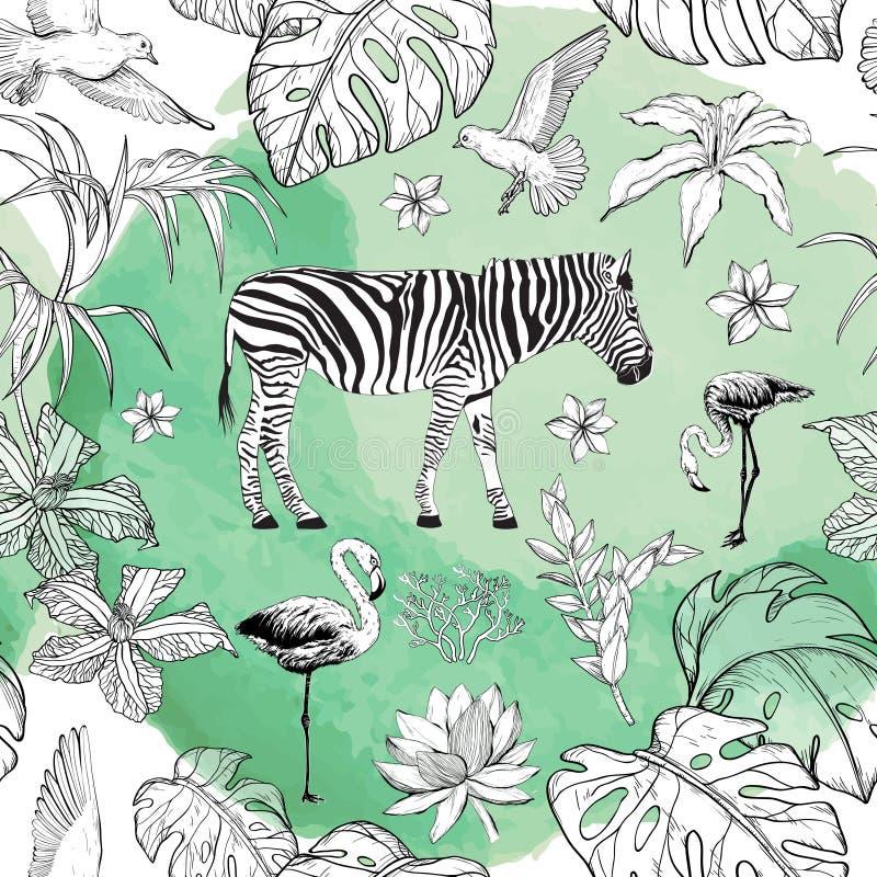 Modello senza cuciture dell'acquerello con i fiori e gli uccelli tropicali del fenicottero illustrazione di stock