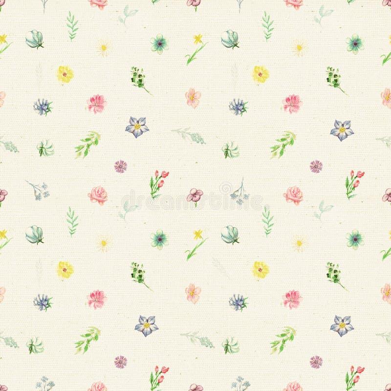 Modello senza cuciture dell'acquerello con i fiori ed i ramoscelli illustrazione di stock
