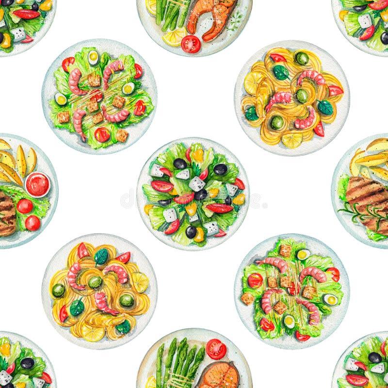 Modello senza cuciture dell'acquerello con i piatti con alimento illustrazione di stock