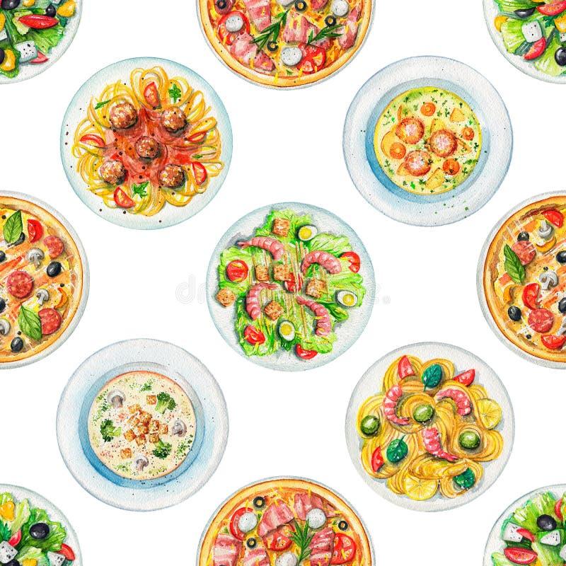Modello senza cuciture dell'acquerello con i piatti con alimento royalty illustrazione gratis