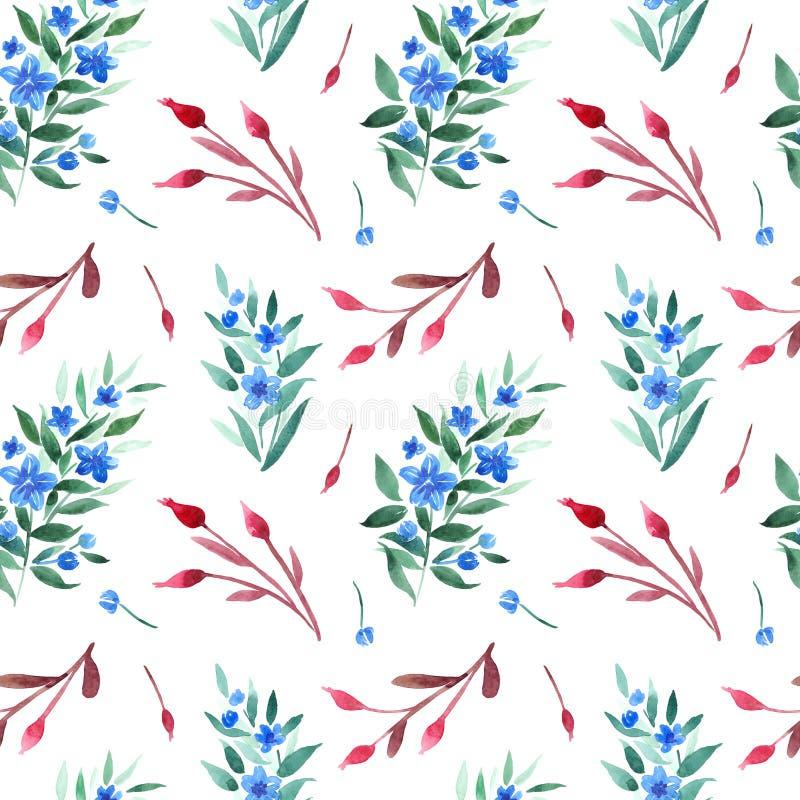 Modello senza cuciture dell'acquerello con i rami floreali, le bacche della rosa canina ed i fiori blu royalty illustrazione gratis