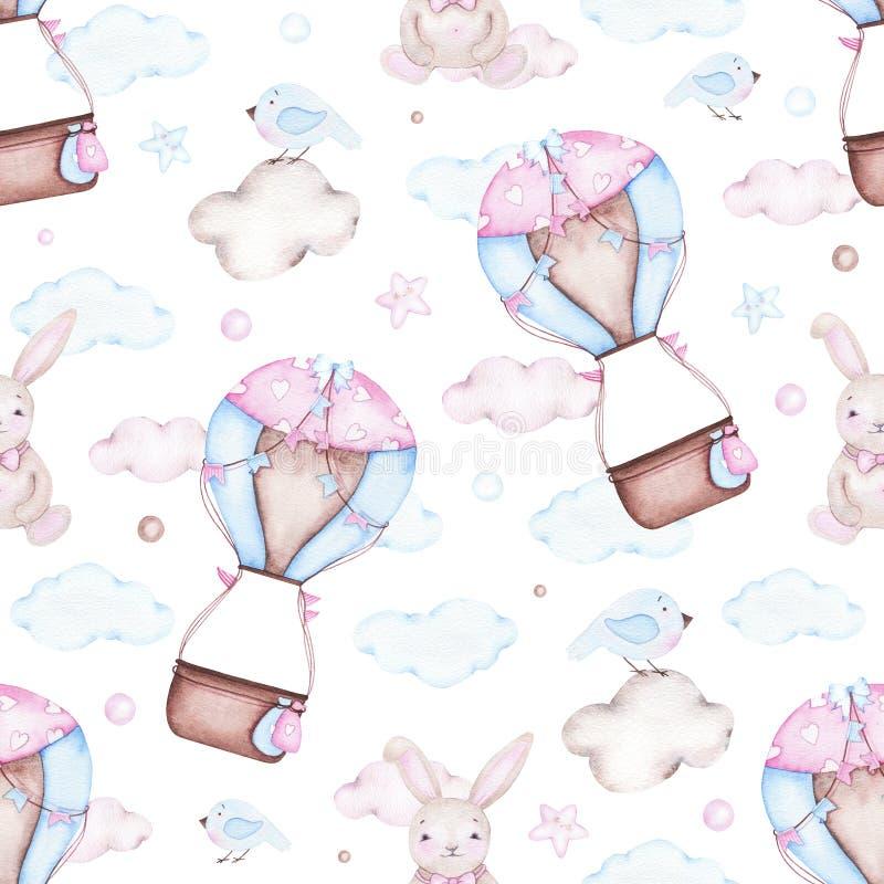 Modello senza cuciture dell'acquerello con il coniglietto della mongolfiera illustrazione vettoriale