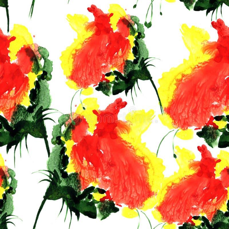Modello senza cuciture dell'acquerello con il fiore di fantasia nel colore rosso e giallo Illustrazione disegnata a mano per prog illustrazione di stock