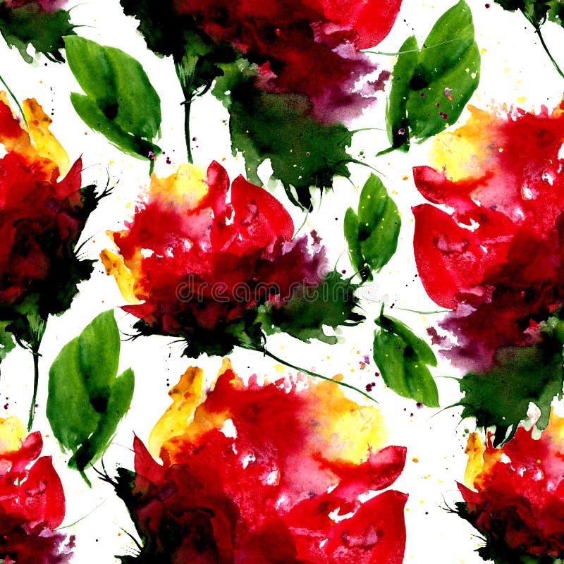 Modello senza cuciture dell'acquerello con il fiore e le foglie di fantasia Illustrazione disegnata a mano per progettazione, il  royalty illustrazione gratis
