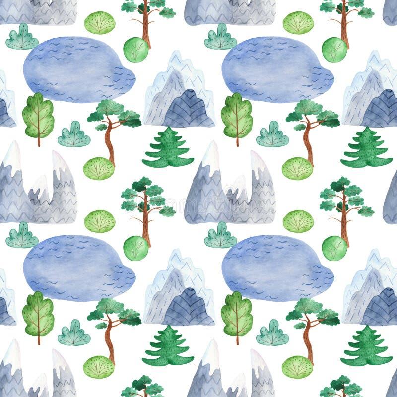 Modello senza cuciture dell'acquerello con il paesaggio della montagna royalty illustrazione gratis