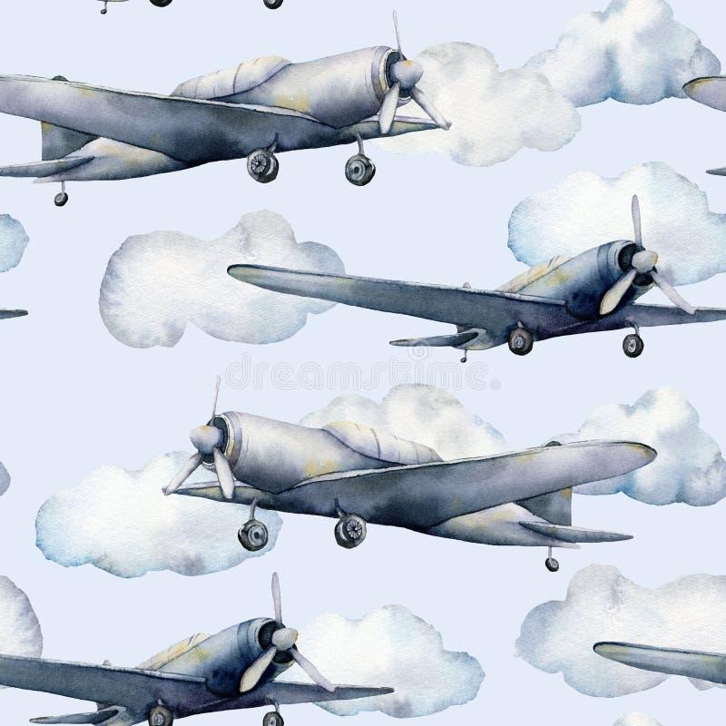 Modello senza cuciture dell'acquerello con l'aeroplano e le nuvole Illustrazione dipinta a mano del cielo con l'aereo di elica is illustrazione di stock