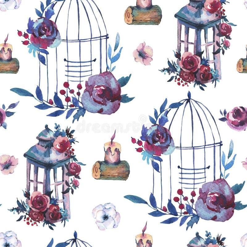 Modello senza cuciture dell'acquerello con la rosa rossa, wildflowers, bacche, illustrazione vettoriale