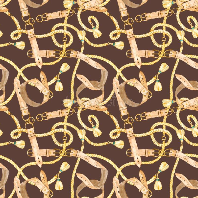 Modello senza cuciture dell'acquerello con le catene dell'oro, le cinghie e le corde di cuoio sul fondo di colore illustrazione vettoriale