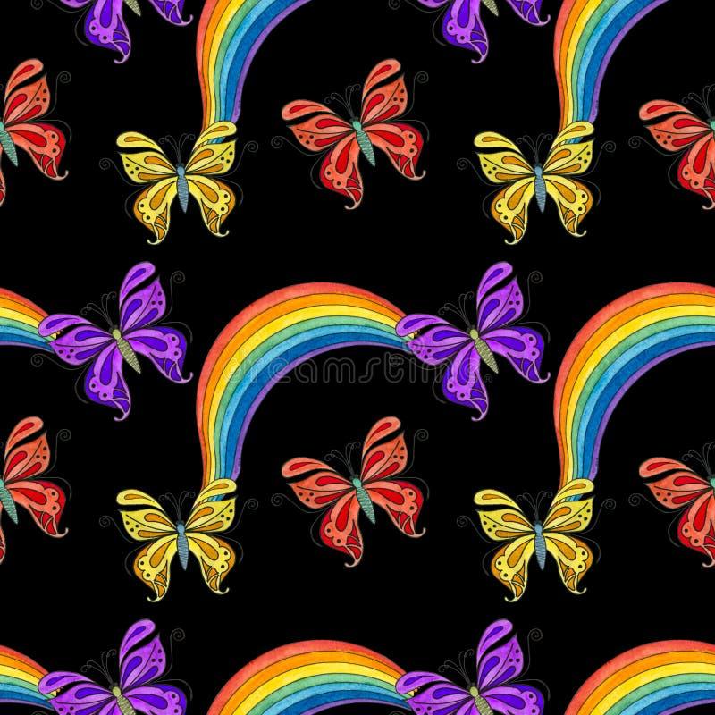 Modello senza cuciture dell'acquerello con le farfalle illustrazione vettoriale