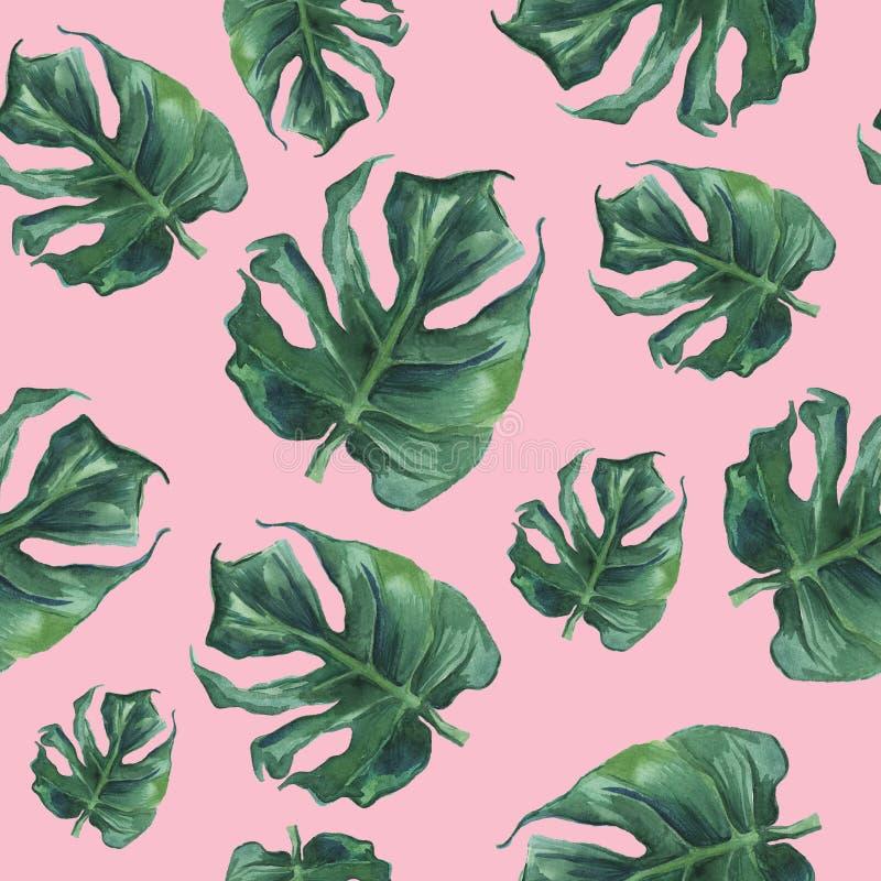 Modello senza cuciture dell'acquerello con le foglie di monstera illustrazione vettoriale