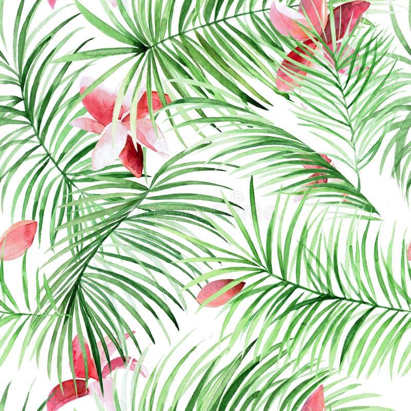 Modello senza cuciture dell'acquerello con le foglie di palma ed i fiori tropicali illustrazione di stock
