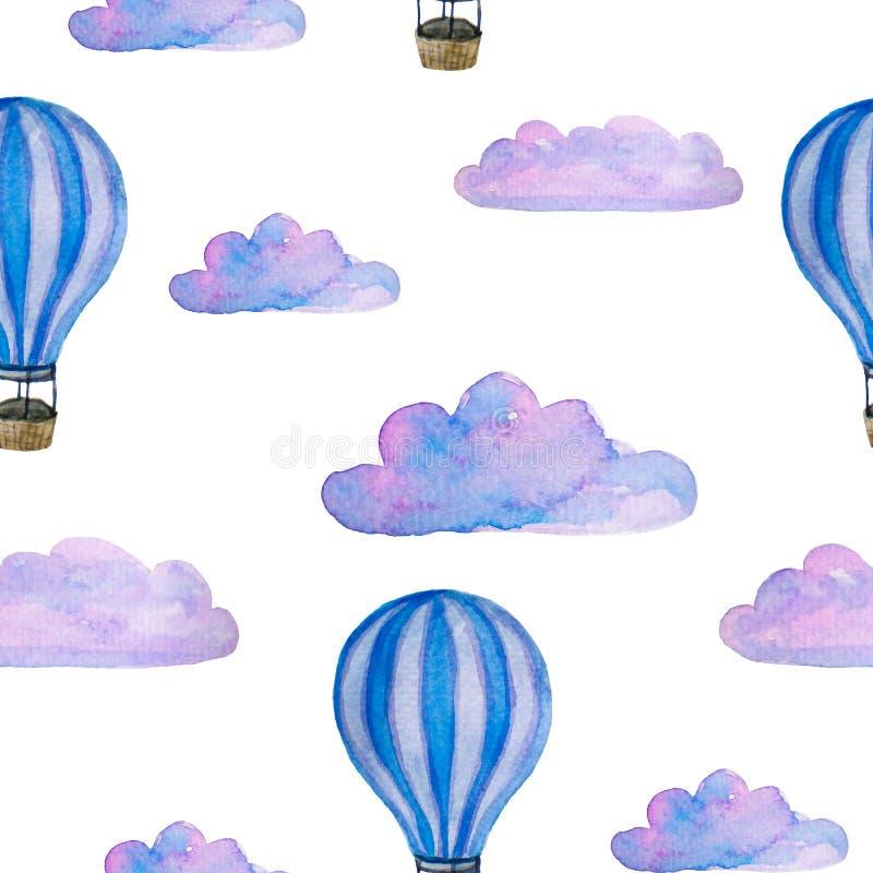 Modello senza cuciture dell'acquerello con le mongolfiere, le nuvole blu ed il dirigibile isolati su bianco royalty illustrazione gratis