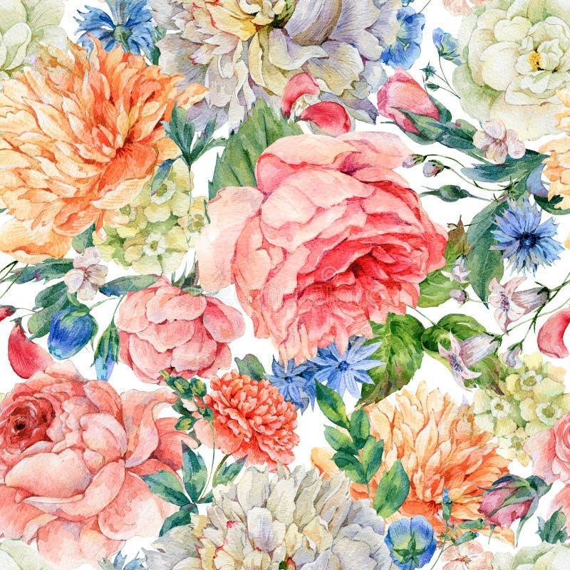 Modello senza cuciture dell'acquerello con le peonie di fioritura, rose illustrazione di stock