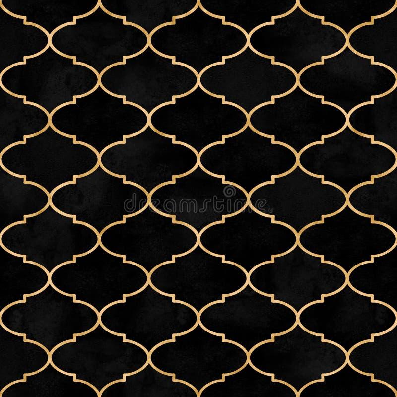 Modello senza cuciture dell'acquerello decorativo d'annata nero marocchino del velluto fotografie stock libere da diritti