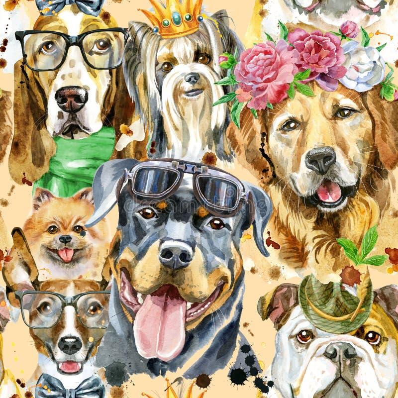 Modello senza cuciture dell'acquerello dei cani su fondo bianco illustrazione vettoriale