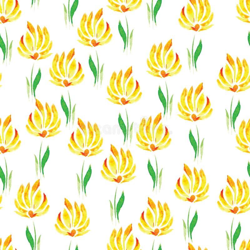 Modello senza cuciture dell'acquerello dei fiori e delle foglie verdi gialli su un fondo bianco royalty illustrazione gratis