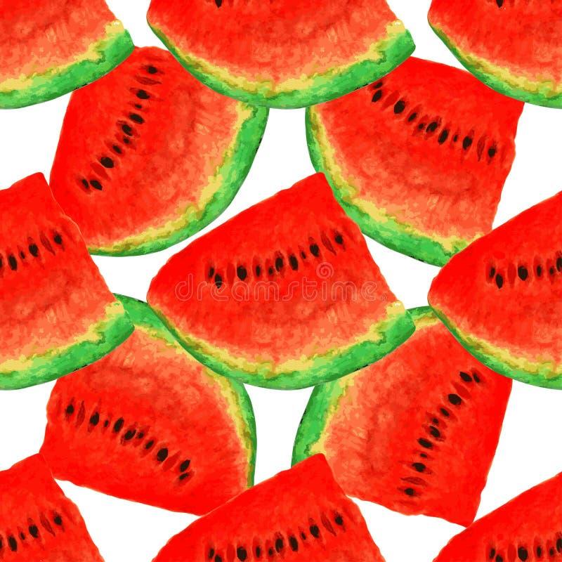 Modello senza cuciture dell'acquerello dell'anguria, pezzo succoso, composizione in estate delle fette rosse di anguria handiwork illustrazione vettoriale