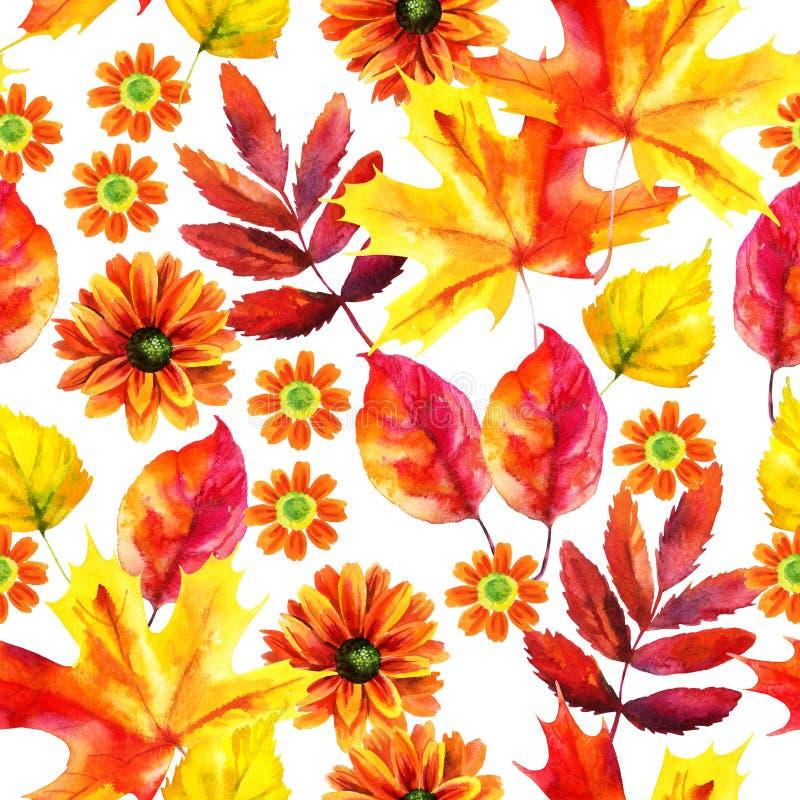 Modello senza cuciture dell'acquerello delle foglie e dei fiori di autunno royalty illustrazione gratis