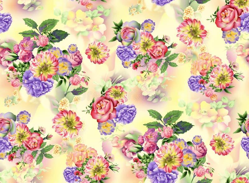 Modello senza cuciture dell'acquerello delle rose del giardino di estate e dei fiori dell'iride su fondo giallo illustrazione vettoriale