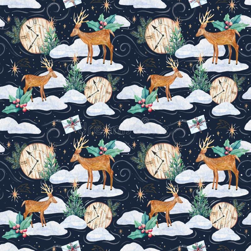 Modello senza cuciture dell'acquerello di inverno con i cervi royalty illustrazione gratis
