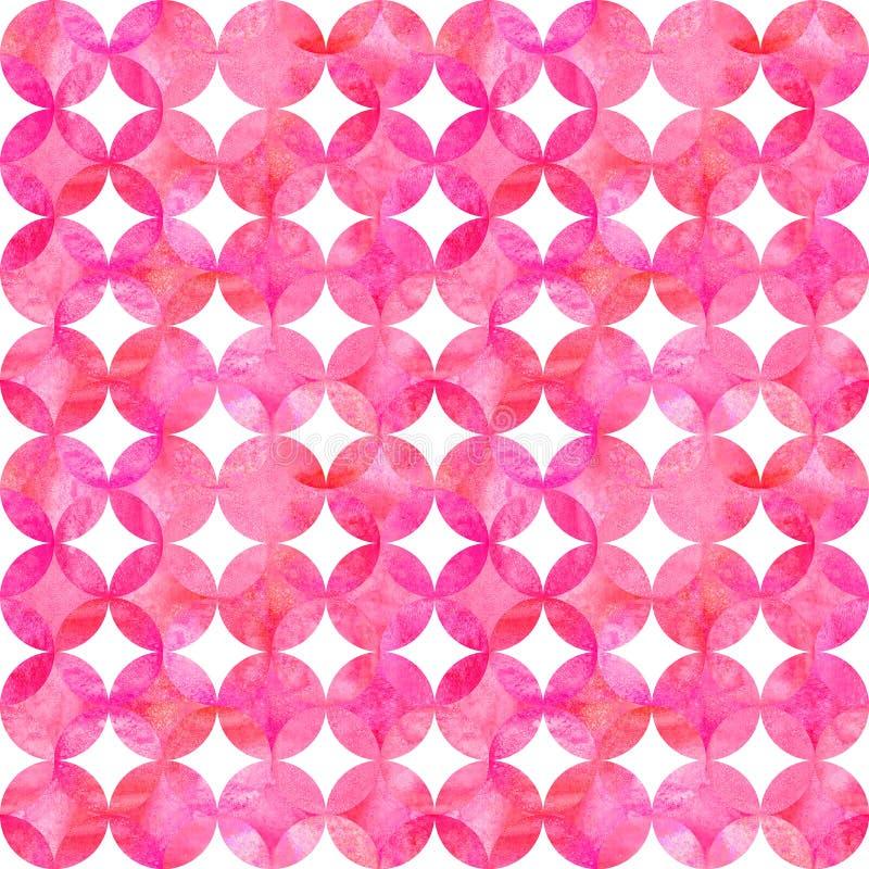 Modello senza cuciture dell'acquerello di rosa di lerciume dell'estratto con la sovrapposizione dei cerchi variopinti su fondo bi royalty illustrazione gratis