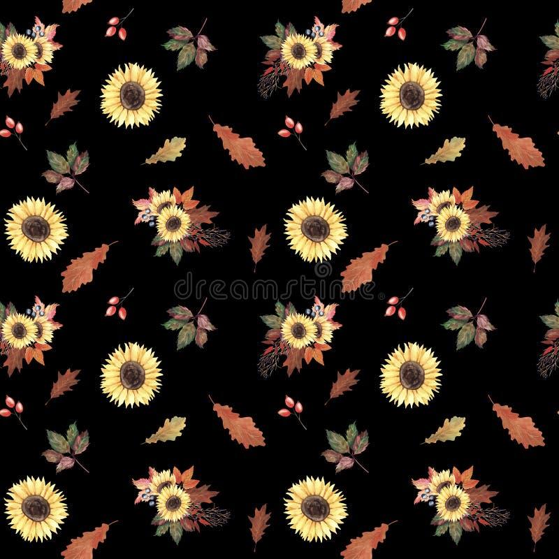 Modello senza cuciture dell'acquerello dipinto a mano con i girasoli, le foglie di autunno e le bacche su fondo nero illustrazione vettoriale