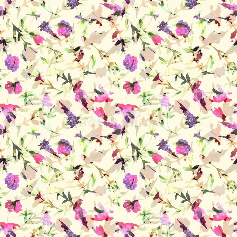 Modello senza cuciture dell'acquerello floreale Modello dipinto a mano con il timo dei wildflowers royalty illustrazione gratis
