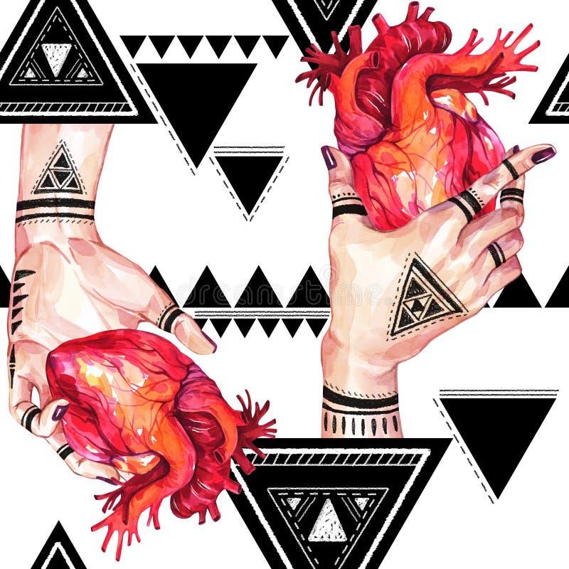 Modello senza cuciture dell'acquerello, mani delle ragazze con il mehendi che tiene i cuori anatomici su fondo geometrico Essere  illustrazione di stock