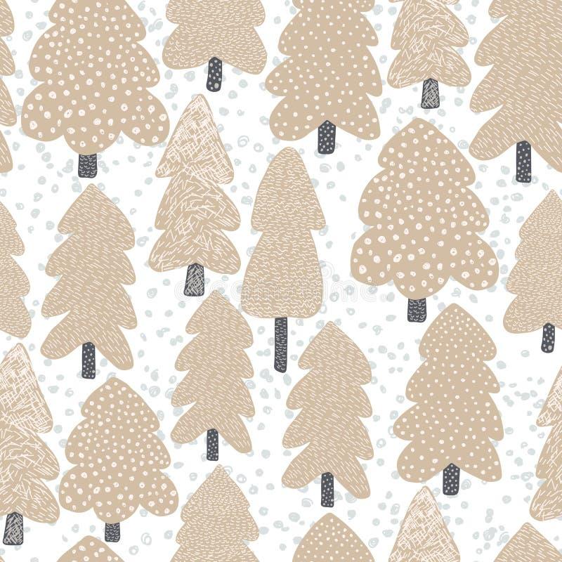 Modello senza cuciture dell'albero scandinavo disegnato a mano Fondo della foresta di scarabocchio illustrazione di stock