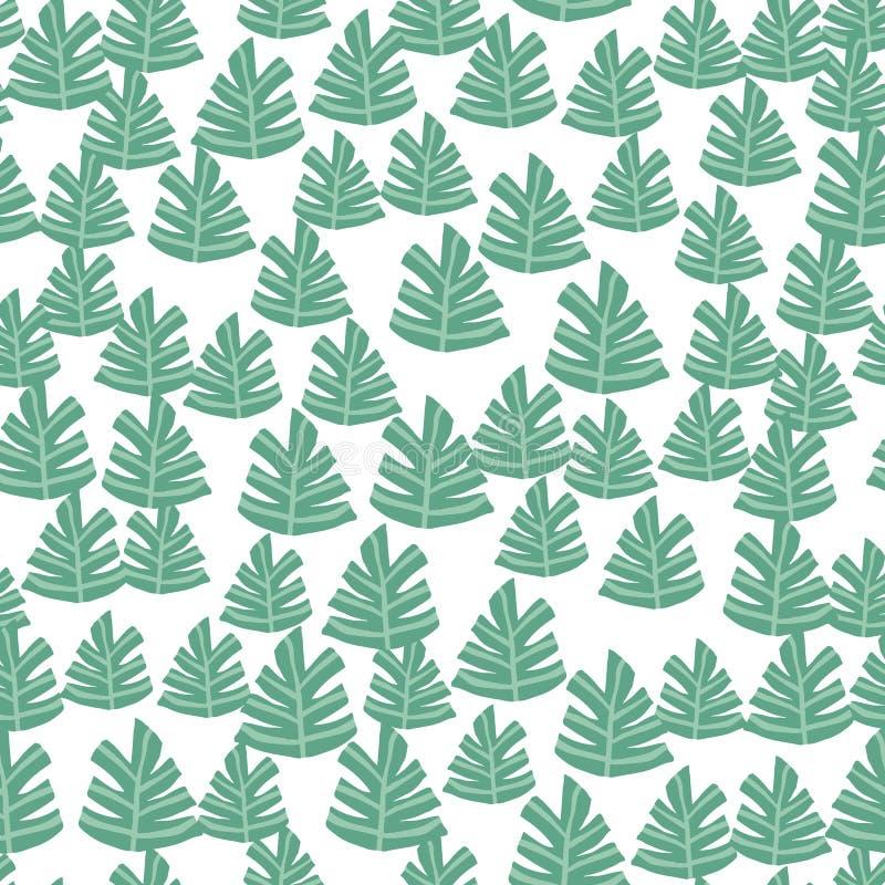 Modello senza cuciture dell'albero verde disegnato a mano Fondo della foresta di scarabocchio illustrazione vettoriale