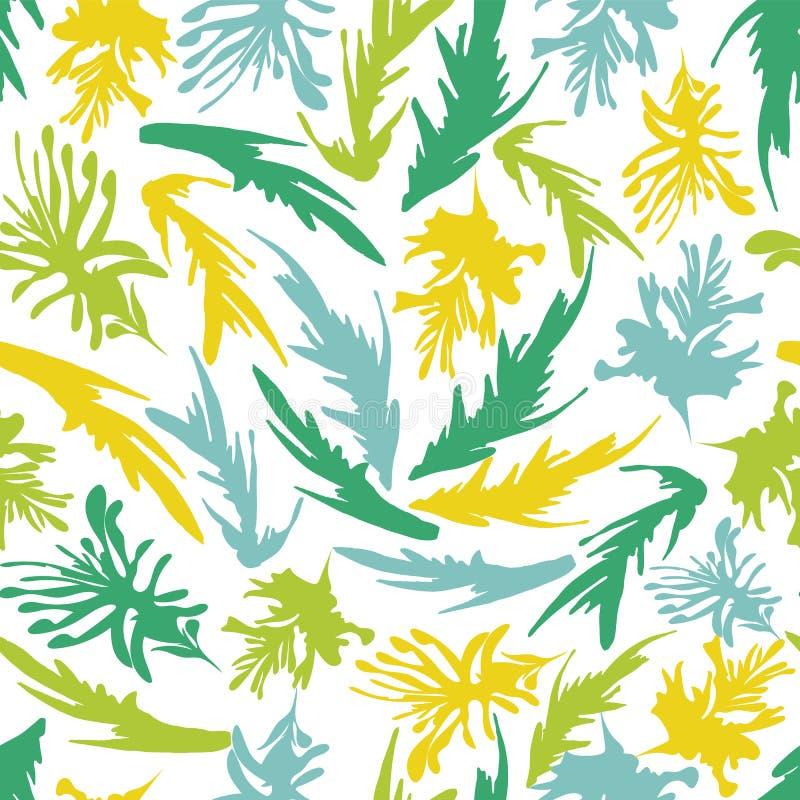 Modello senza cuciture dell'alga della vegetazione di vettore subacqueo variopinto astratto delle siluette in uno stile disegnato illustrazione di stock