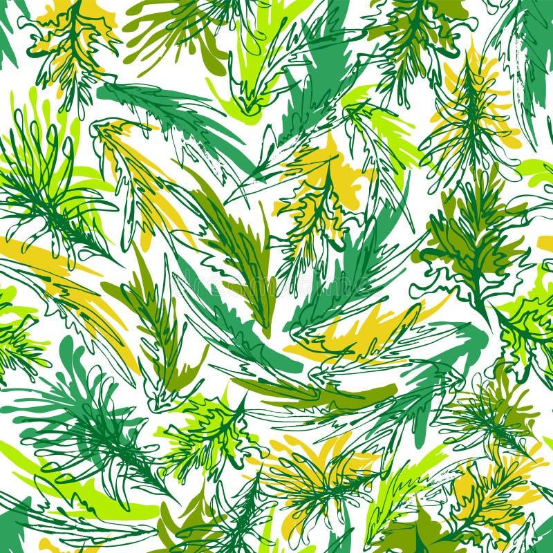 Modello senza cuciture dell'alga di vettore subacqueo variopinto astratto della vegetazione in uno stile disegnato a mano sciolto illustrazione di stock
