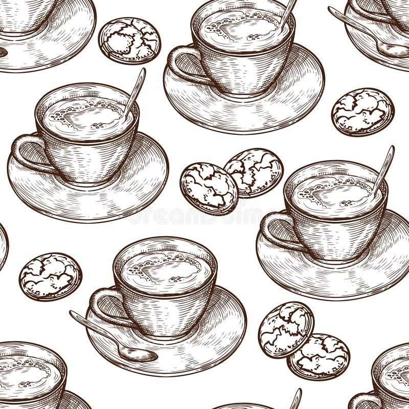 Modello senza cuciture dell'alimento disegnato a mano, tazza della bevanda calda, biscotti dell'avena illustrazione vettoriale
