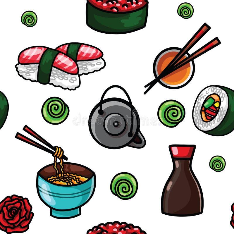 Modello senza cuciture dell'alimento piano con l'alga tradizionale gli spuntini, il tè, le tagliatelle e dei rotoli di sushi asia royalty illustrazione gratis