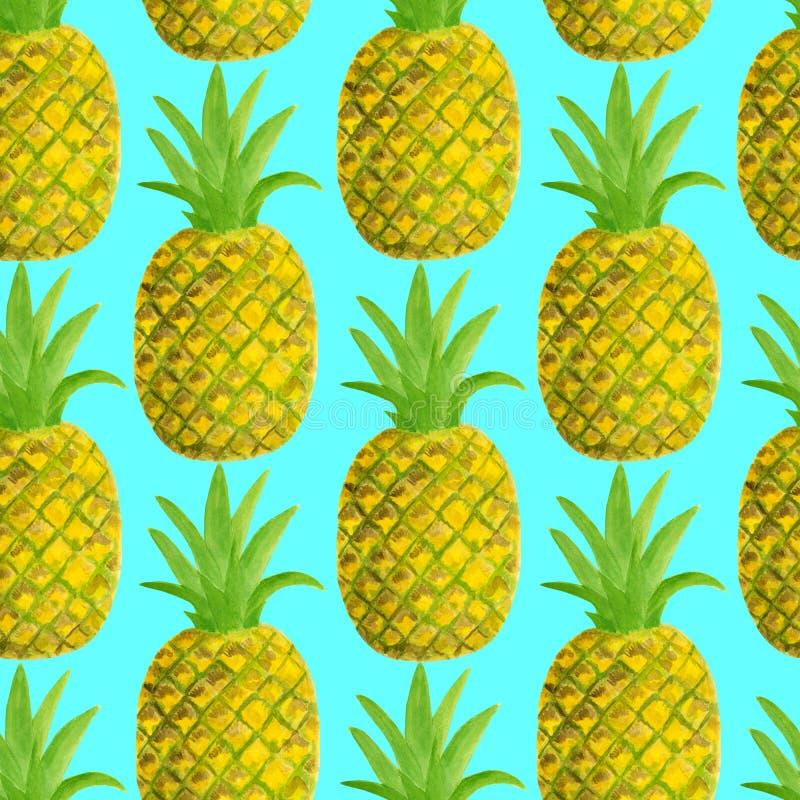 Modello senza cuciture dell'ananas dell'acquerello Illustrazione disegnata a mano di frutti tropicali isolata su fondo blu Proget illustrazione di stock