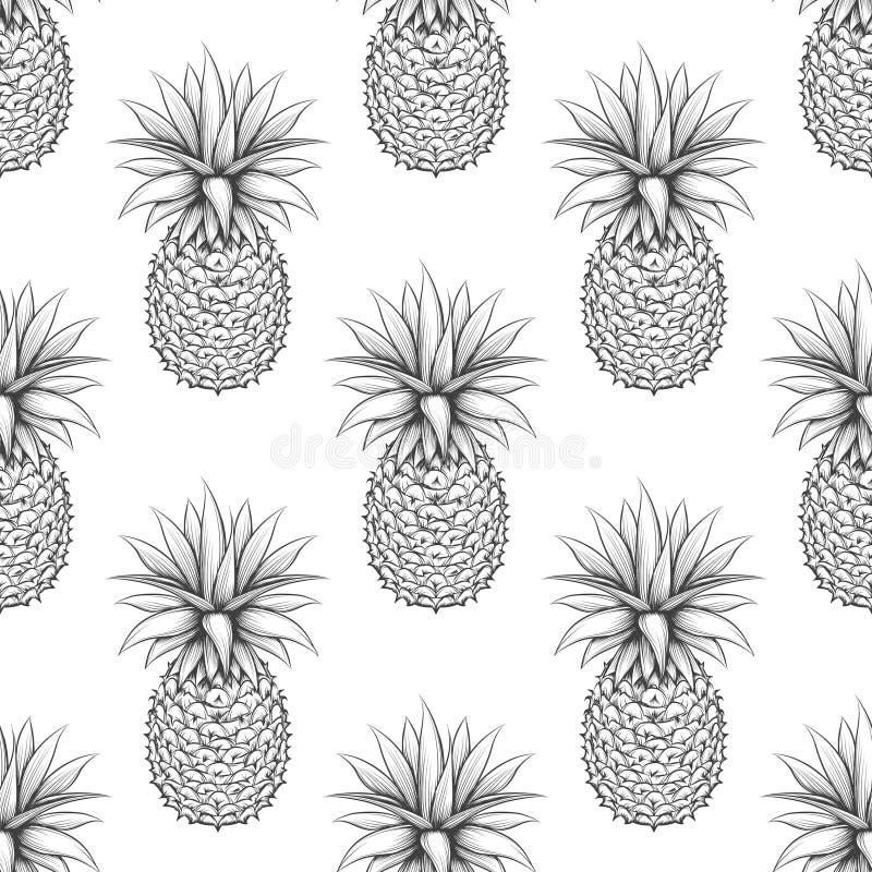 Modello senza cuciture dell'ananas in bianco e nero illustrazione di stock