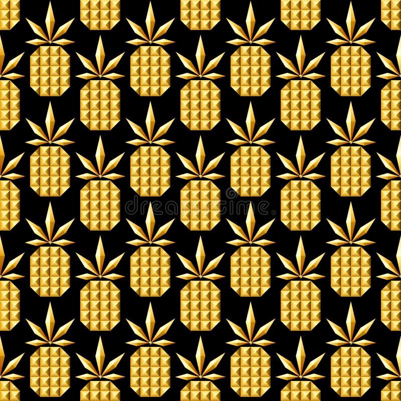 Modello senza cuciture dell'ananas dorato dei gioielli royalty illustrazione gratis