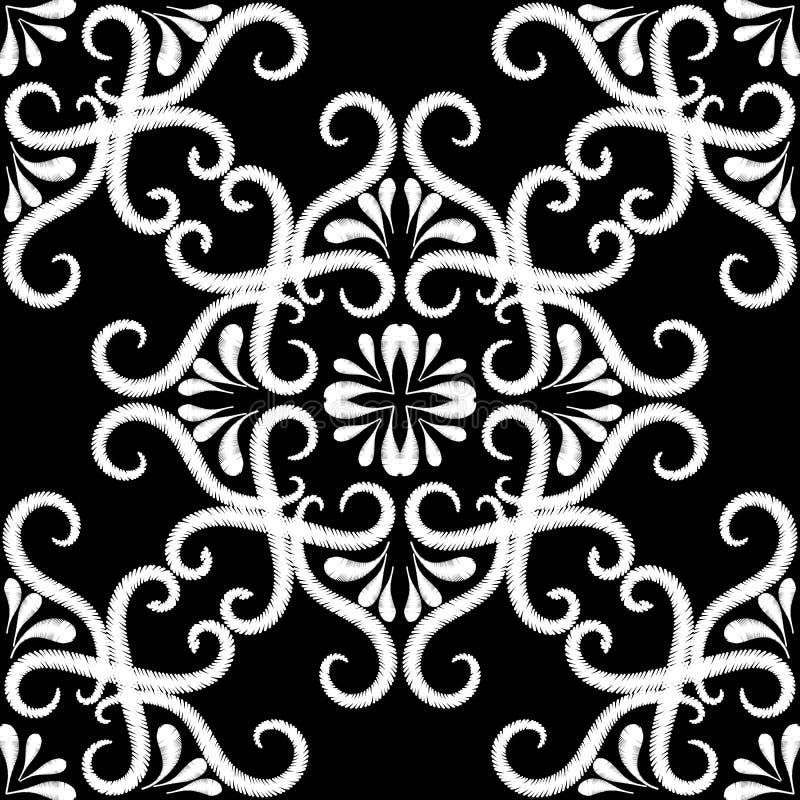 Modello senza cuciture dell'annata in bianco e nero del ricamo Fondo ornamentale del damasco di vettore Ornamento etnico floreale illustrazione di stock