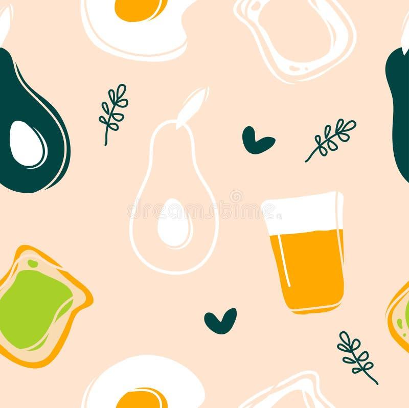 Modello senza cuciture dell'avocado, dell'uovo fritto, del pane tostato e del succo illustrazione di stock