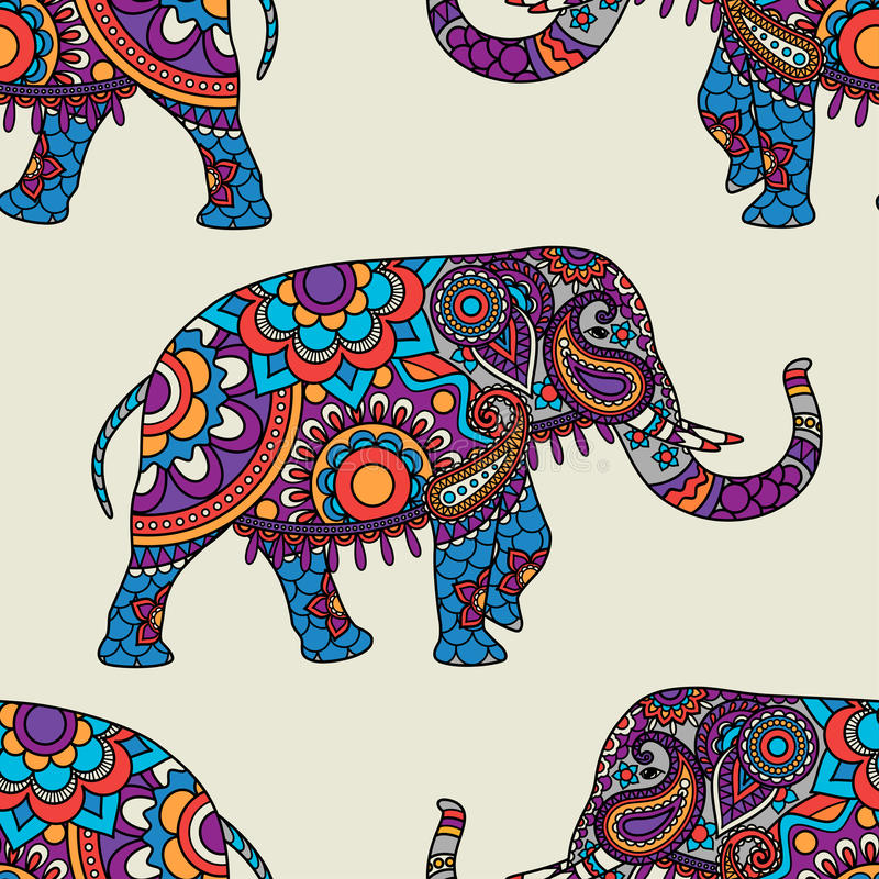 Modello senza cuciture dell'elefante indiano di scarabocchio royalty illustrazione gratis